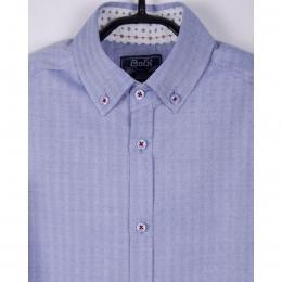 Рубашка BoGi casual Голубая в точечку и полоску