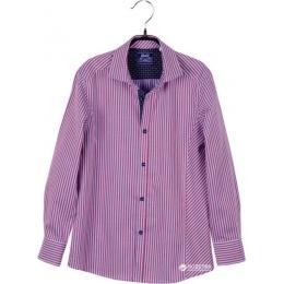 Рубашка BoGi casual Бордово-голубая полоска