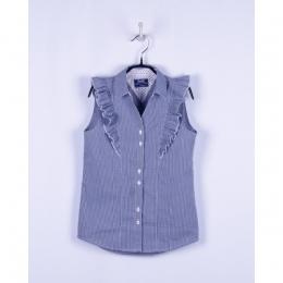 Блуза короткий рукав голубая клетка