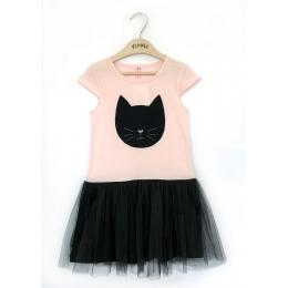 Платье Котик короткий рукав 95% хлопок, 5% ластан
