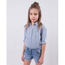 Блузка-рубашка для девочки бело-голубая клетка