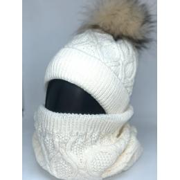 Набор Катрин ( шапка +снуд), вязка, подкладка флис, 54-58