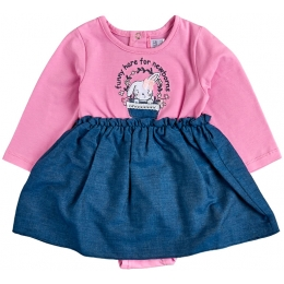 Платье-боди стрейч-кулир розовый