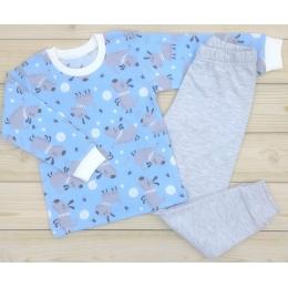 Пижама Кена Теплая Голубая с серым