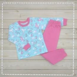 Пижама Кена Теплая Розовая с бирюзой