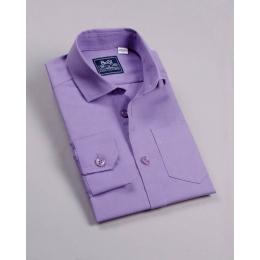Рубашка классическая, короткий рукав, фиолет
