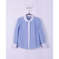Блуза с длинным рукавом BoGi Голубая в точечку