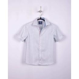 Рубашка BoGi casual Белая в голубую клетку