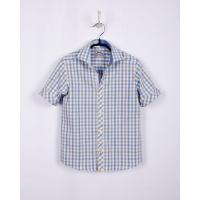 Рубашка BoGi casual Бело-голубая-оливковая клетка